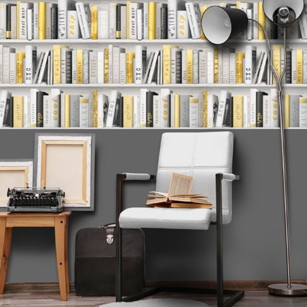 Dutch Wallcoverings Freestyle Boekenkast - Grijs/goud