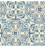 Dutch Wallcoverings Restored Florentine Tile - Blauw/beige 24046
