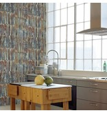 Dutch Wallcoverings Restored Patina Panels - Bruin/blauw 24064