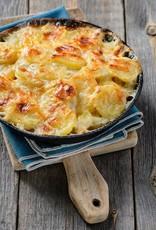 Aardappelgratin met spinazie, kaas & paddestoelen (vegetarisch)