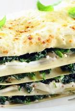 Lasagne pompoen, spinazie, ricotta, pijnboompitten & rucola (vegetarisch)