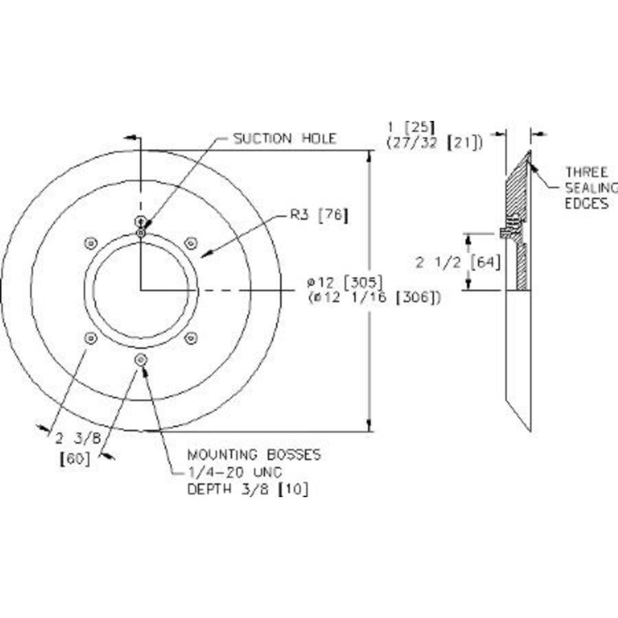 ventouse de remplacement 280mm pour div. Powr-Grips