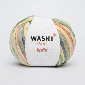 Katia Washi print 310 wit/groen/oranje/geel/grijs/donkerblauw