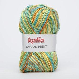 Katia Saigon Print 87 oranje/blauw/groen