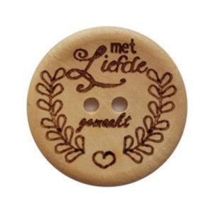 CuteDutch Houten knoop - Met liefde gemaakt 30 mm