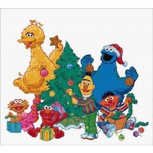 Thea Gouverneur Borduurpakket Sesamstraat Kerst