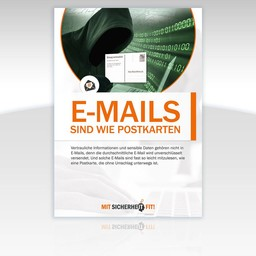 "Awareness-Plakat ""E-Mails sind wie Postkarten"" - Motiv rund"