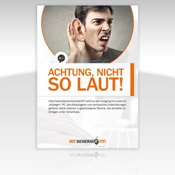 "Awareness-Plakat ""Achtung, nicht so laut!"" - Motiv rund"