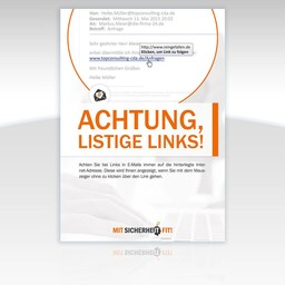"Awareness-Plakat ""Achtung, listige Links!"" - Motiv rund"