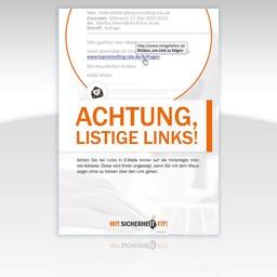 "Awareness-Plakat ""Achtung, listige Links!"" - Motiv rund"