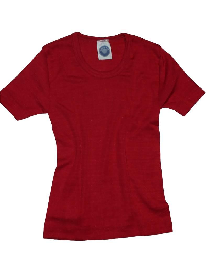 Wolle/Seide Kinderunterhemd kurzarm rot