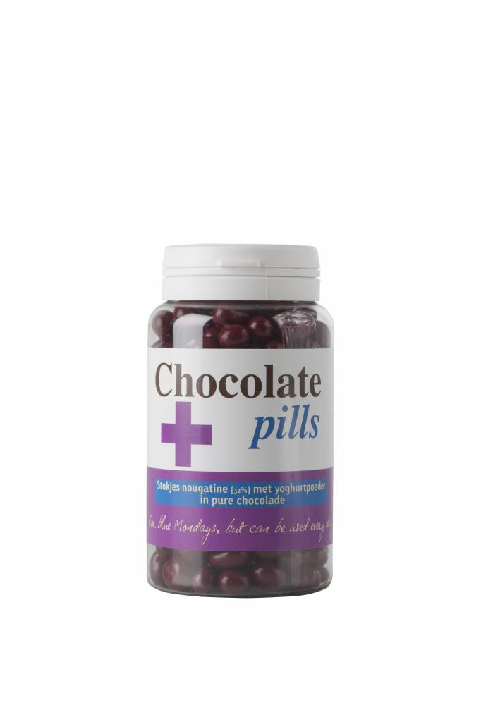 Chocolate pills with nougatine