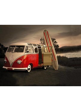 Red T1 VW with surf boards poster