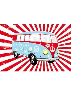 VW T1 poster Red and white stripes
