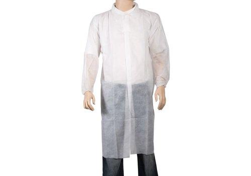 Wegwerp overall Non Woven Jas wit klittenband
