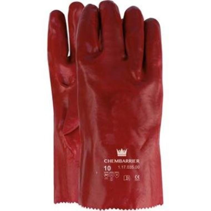 Waterdichte werk handschoen latex (pvc)   35 cm