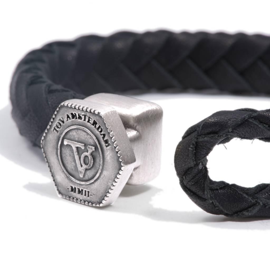 The Lock Leather Bracelet Dark Blue Silver