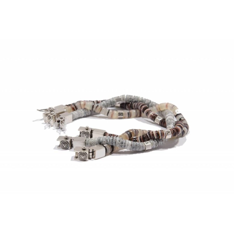 SHELL BRACELET - BROWN TONES - SILVER