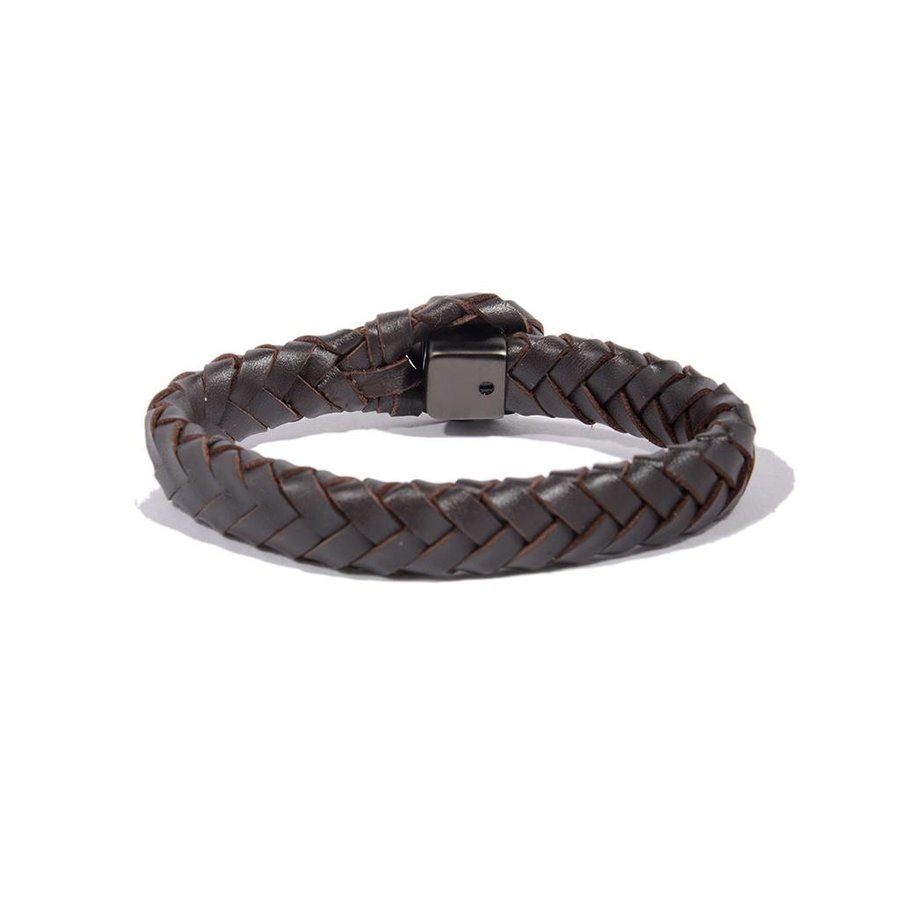 THE LOCK & LEATHER BRACELET - DARK BROWN - GUN METAL