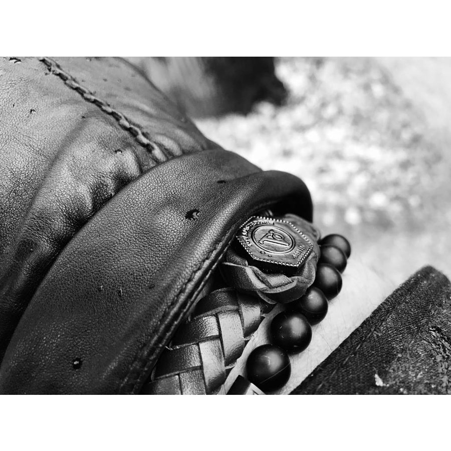THE LOCK & LEATHER BRACELET - BLACK - GUN METAL