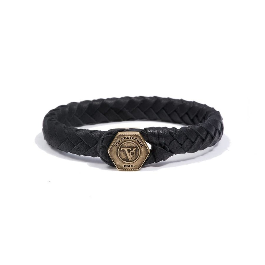 THE LOCK & LEATHER BRACELET - BLACK - BRASS