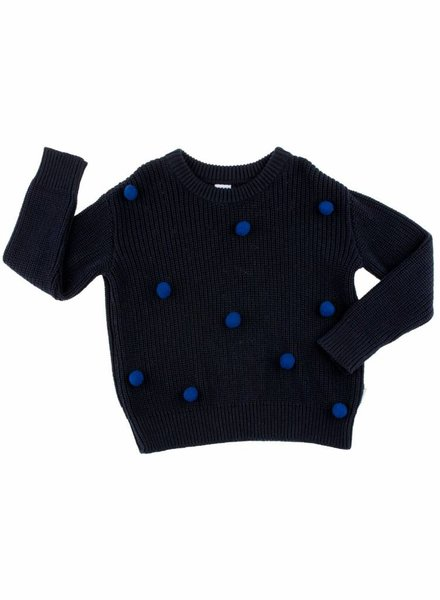 Tiny Cottons Sweater pom pom dark bleu