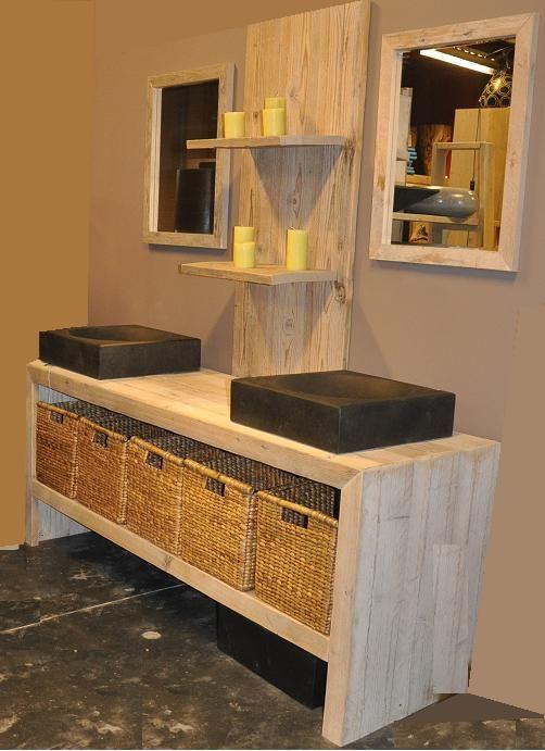 badkamermeubel steigerhout incl 2 spiegels bcdesignwood