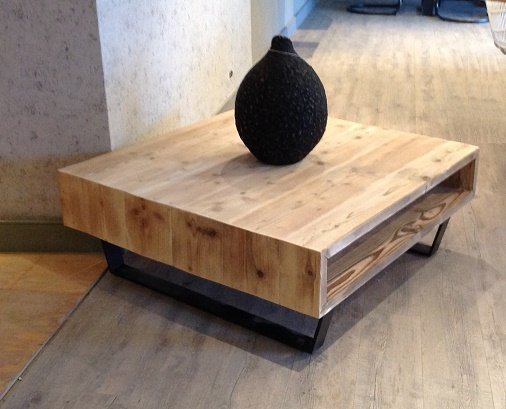 Bcdesignwood Coffee table Kenny used in scaffolding wood with metal base    BCdesignwood wood