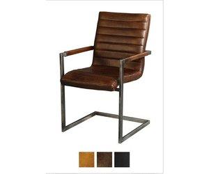 Industriele lederen stoelen norbert met armleuning vintage leder