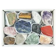Mineralenset met 12 ruwe stenen