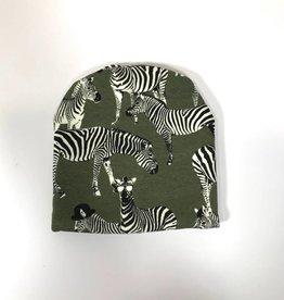 Zippy Zebra army / newborn beanie / mutsje