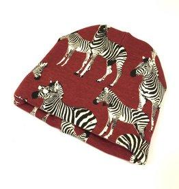 Zippy Zebra bordeaux / newborn beanie / mutsje