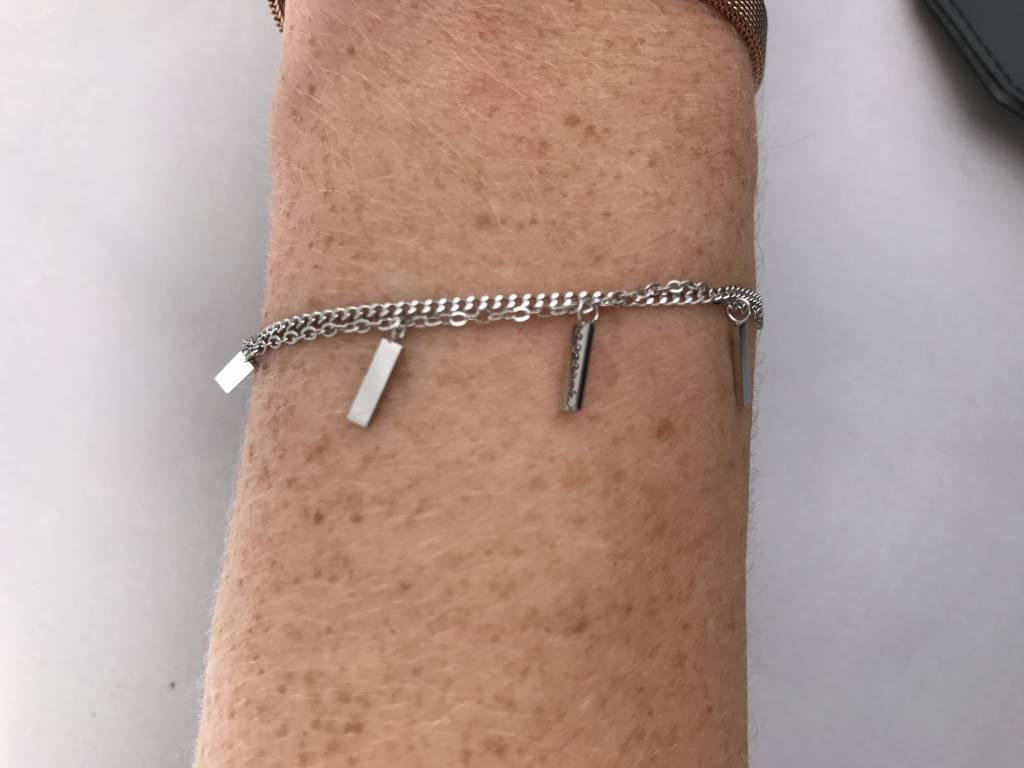 ZAG Bijoux ZAG Bijoux - Armband met losse rechthoekjes zilver