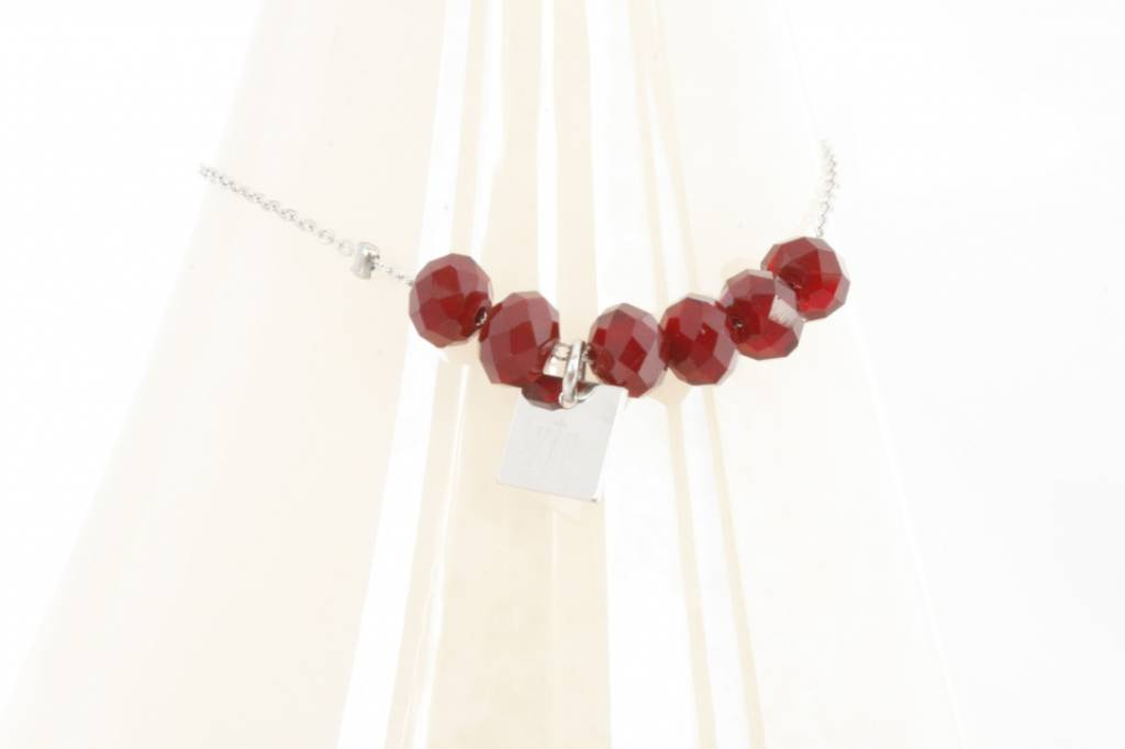 ZAG Bijoux Armband ZAG Bijoux - Beads zilver/robijn rood