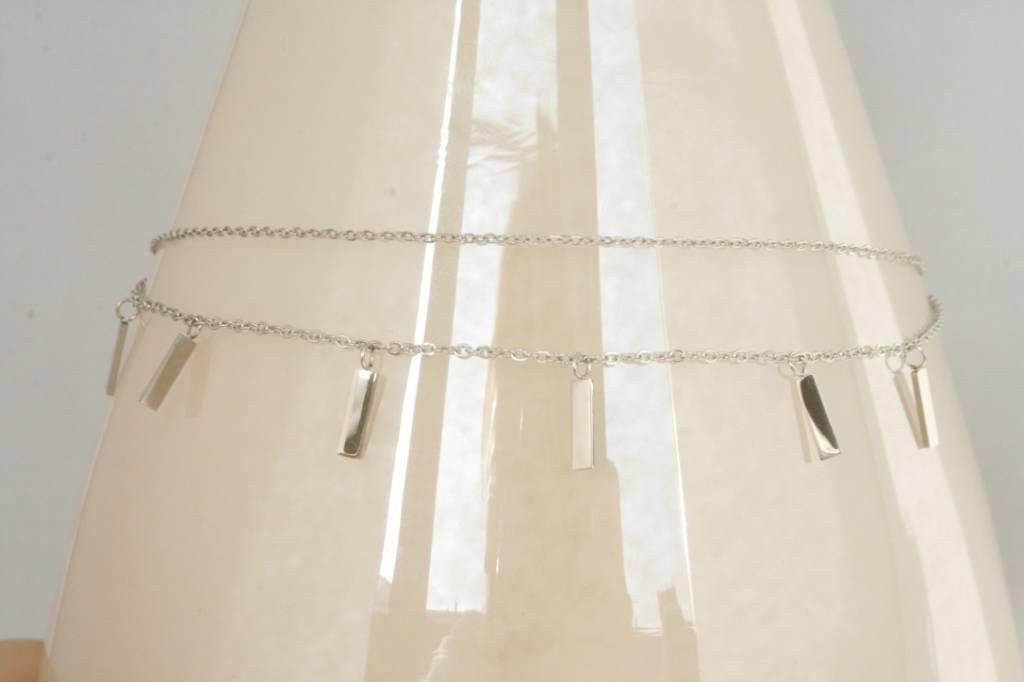 ZAG Bijoux ZAG Bijoux tweelaagse ketting - Rechthoekjes zilver