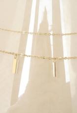 ZAG Bijoux ZAG Bijoux tweelaagse ketting - Rechthoekjes goud