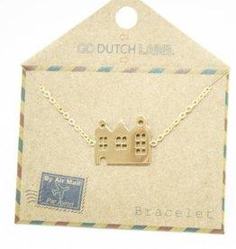 Go Dutch Label Armbanden Go Dutch Label - Amsterdamse huisjes goud