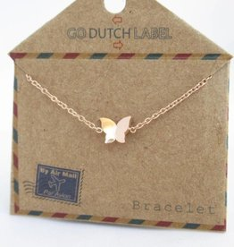 Go Dutch Label Armbanden Go Dutch Label - Vlinder rose goud