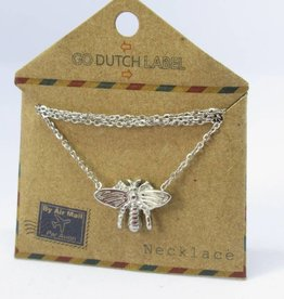 Go Dutch Label Kettingen Go Dutch Label - Honey bee/vlieg zilver
