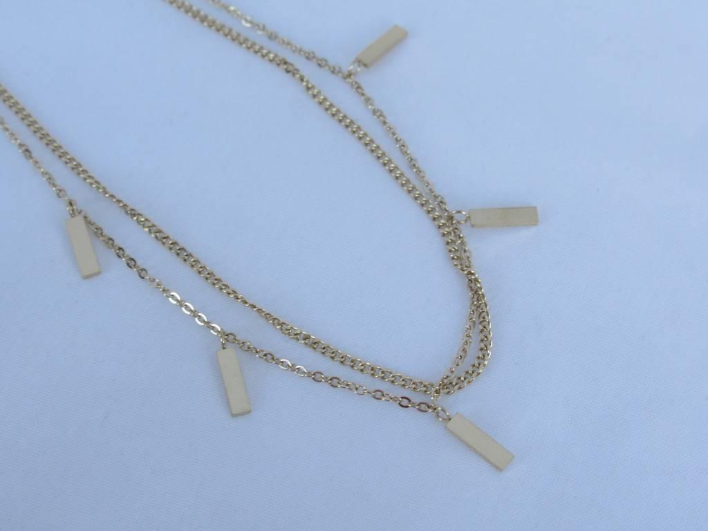 ZAG Bijoux ZAG Bijoux enkelbandje - Rechthoekjes goud