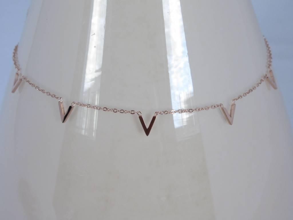 ZAG Bijoux ZAG Bijoux enkelbandje - Multi V rose goud