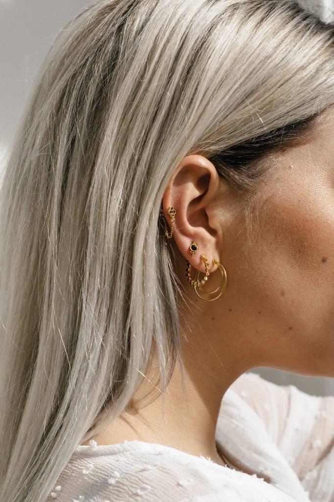 Eline Rosina Eline Rosina oorbellen - Cosmic black zirconia chain sterling silver
