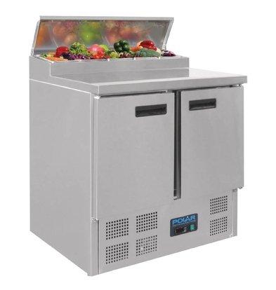 Polar Comptoir à Pizza Inox   2 Portes   254 Litres   700x910x970(h)mm