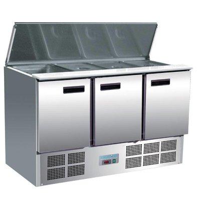 Polar Comptoir Réfrigéré à Salades | 3 Portes | 368 Litres | 700x1370x885(h)mm