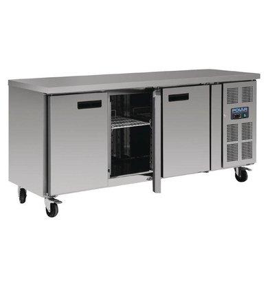 Polar Comptoir Réfrigéré Inox - 3 Portes - 339 Litres - 600(l)x1795(L)x850(h)mm