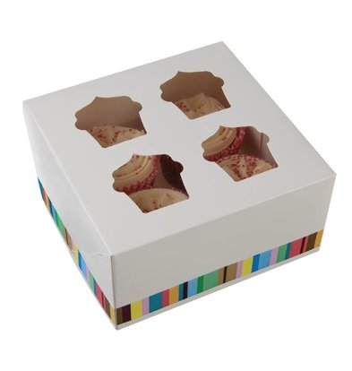 CHRselect Boîtes à 4 Cupcakes - 4 Pièces
