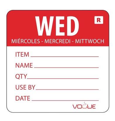 CHRselect Etiquette Code Couleur Mercredi/Rouge - 500 Pièces