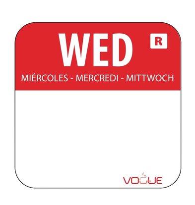 CHRselect Etiquettes Code Couleur -Rouge/Mercredi - 24x24mm - 1000 Pièces