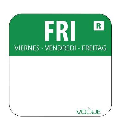 CHRselect Etiquettes Code Couleur - Vert/Vendredi - 24x24mm - 1000 Pièces