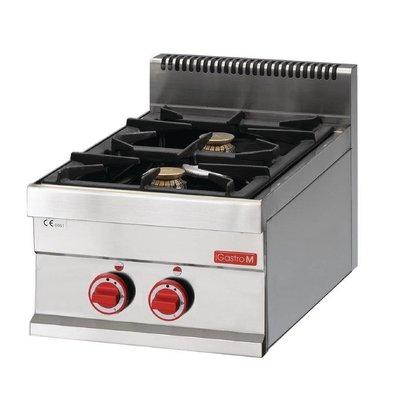Gastro M Cuisinière à Gaz Inox - 2 Feux - 65/40PCG - 8,6kW - 400(l)x650(p)x280(h)mm